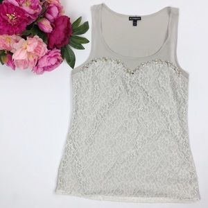 Express Gray Lace Beaded Tank Top Sleeveless Top S